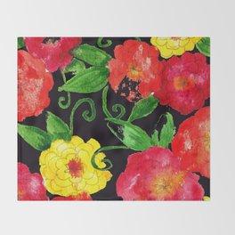 Vintage Wallpaper Black Throw Blanket