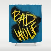 bad wolf Shower Curtains featuring BAD WOLF by Amanda Steuck