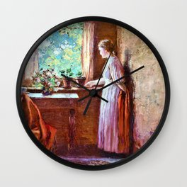 The Girl by the Window - Theodore Clement Steele Wall Clock
