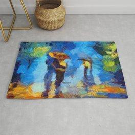 Romantic Couple Walking In Rain Artistic Painting Rug