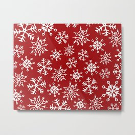Snowflakes Pattern (Red) Metal Print
