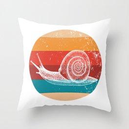 Vintage Snail Lover Retro 80s Style Silhouette Gift Throw Pillow