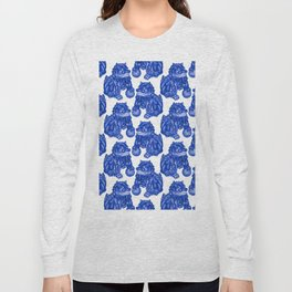 Chinese Guardian Lion Statues in Pottery Blue + White Long Sleeve T-shirt