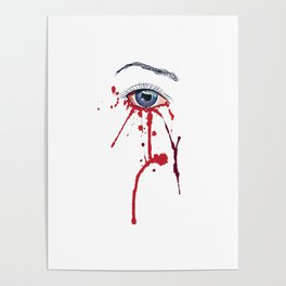 Blue eye with red paint Poster