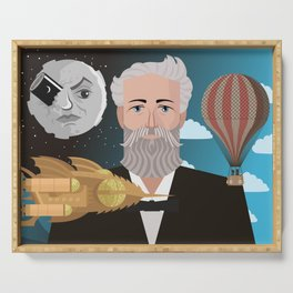 jules verne science fiction retro writer Serving Tray
