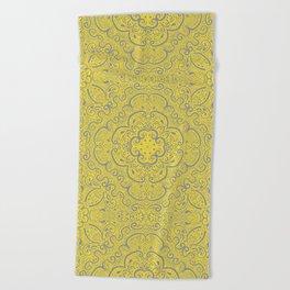 Illuminating Yellow & Ultimate Gray Pattern Beach Towel