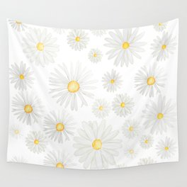 white daisy pattern watercolor Wall Tapestry
