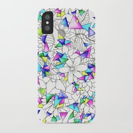 Modern watercolor geometric triangles floral illustration iPhone Case