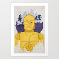 c3po Art Prints featuring C3PO by Robert Scheribel
