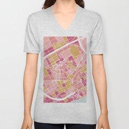 Detroit map Unisex V-Neck