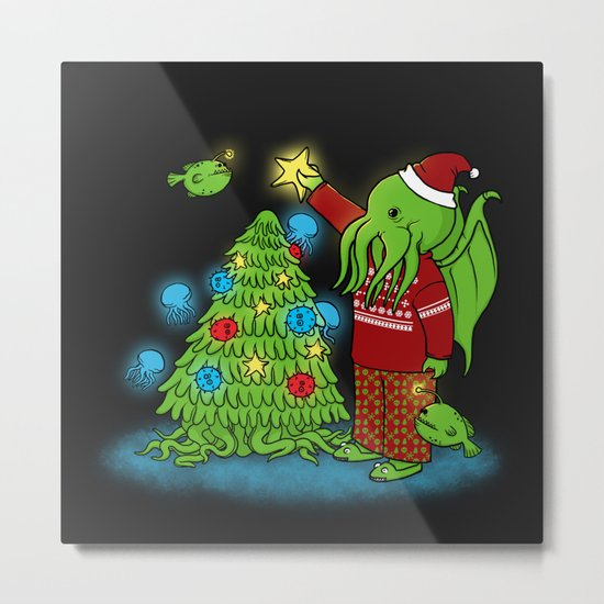 Cthulhu's Happy Holidays Metal Print