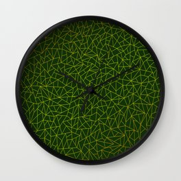 Gold Lowpoly in Green Background Wall Clock