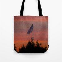 flag Tote Bags featuring flag by On Eagles Wings