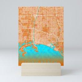 Long Beach, CA, USA, Gold, Blue, City, Map Mini Art Print