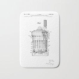 Curta Mechanical Calculator Patent Drawing (3 of 3) Bath Mat