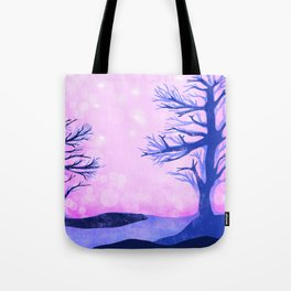 Blue ghost trees on pink speckled sky Tote Bag
