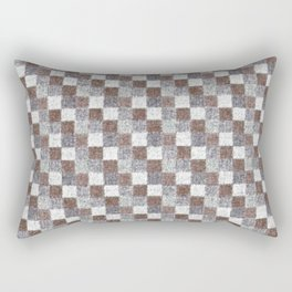 Rustic Brown Gray Beige Patchwork Rectangular Pillow