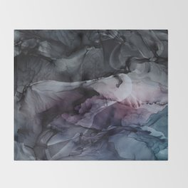 Moody Dark Chaos Inks Abstract Throw Blanket