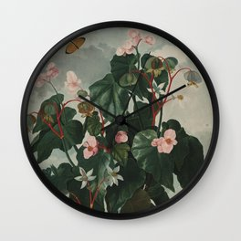 Temple of Flora : Pink Floral The Oblique-Leaved Begonias Wall Clock