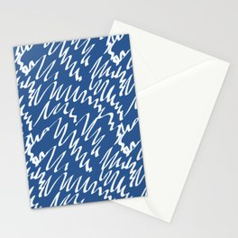 Navy scribble pattern abstract Stationery Cards
