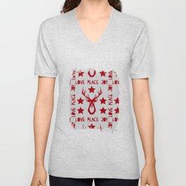Love Peace Joy Deer Knitted Pattern Unisex V-Neck