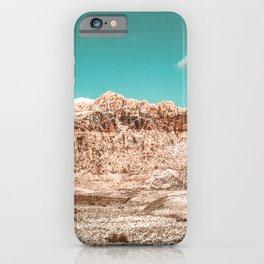 Vintage Red Rock Face // Desert Mountain in Winter Las Vegas Landscape Photograph Teal Sky iPhone Case