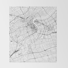 Shanghai White Map Throw Blanket