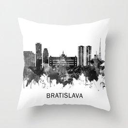 Bratislava Slovakia Skyline BW Throw Pillow