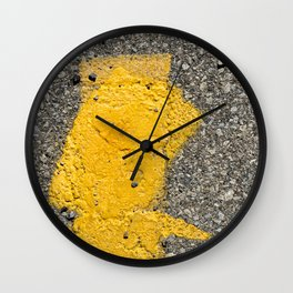 Urban Texture Photography - Yellow Road Markings Wall Clock