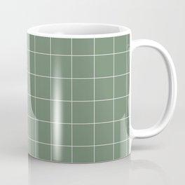 Windowpane Check Grid (white/sage green) Coffee Mug