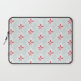 Holiday Floral Poinsettia Red Blue #Holiday #Christmas Laptop Sleeve