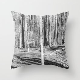 Black And White Disc Golf Basket Throw Pillow