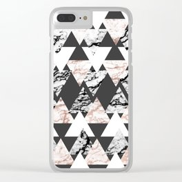 Modern Black White Rose Gold Marble Geo Triangles Clear iPhone Case