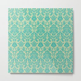 Blue & Cream Vintage Decorative Pattern Metal Print