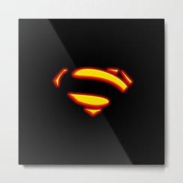 Superman Hope Symbol Logo black background Metal Print