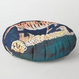 Tiger, Cheetah, Toucan Painting Floor Pillow