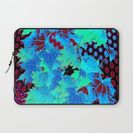 MODERN ART BLUE LEAVES BLACK WINE COLOR ABSTRACT, Laptop Sleeve