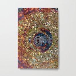 Mosaik orange with a dark blue circle Metal Print
