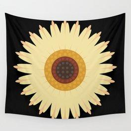 Sunflower Black Wall Tapestry