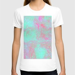 Teal Pink Marble Stars T-shirt