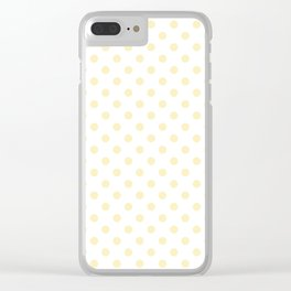 Small Polka Dots - Blond Yellow on White Clear iPhone Case
