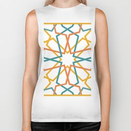 Orange Yellow Turquoise Geometric Tile Pattern Biker Tank