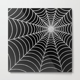 Spiderweb | Silver Glitter Metal Print