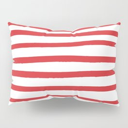 Red hand drawn stripes Pillow Sham