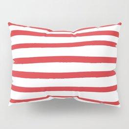 Red hand drawn stripes Pillow Sham
