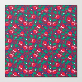 Cranberries pattern (on dark red background) Canvas Print