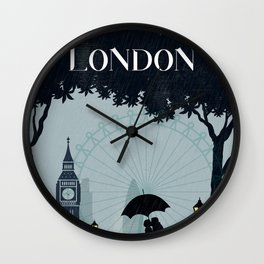 London vintage poster travel Wall Clock