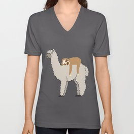 Sloth Riding Llama Adorable Lama & Sleepy Sloth Unisex V-Neck