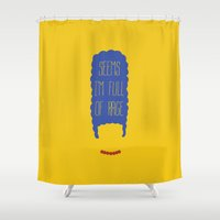 simpson Shower Curtains featuring The simpsons - Marge Simpson - Seems I'm full of rage by Axel Savvides