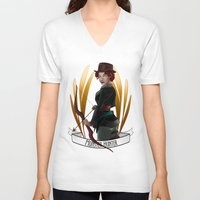 monster hunter V-neck T-shirts featuring Steampunk Occupation Series: Monster Hunter by kortothecore
